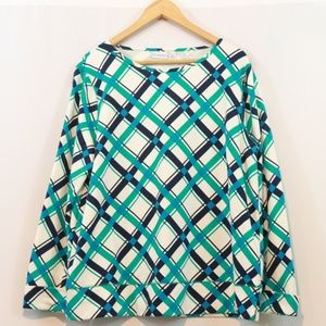 Kim Rogers Plaid Printed Cotton Blend Top